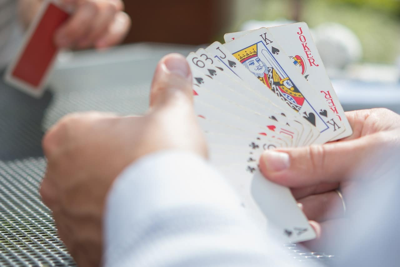 person playing game of cards