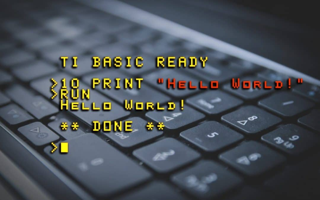 Basic computer code with a computer keyboard background